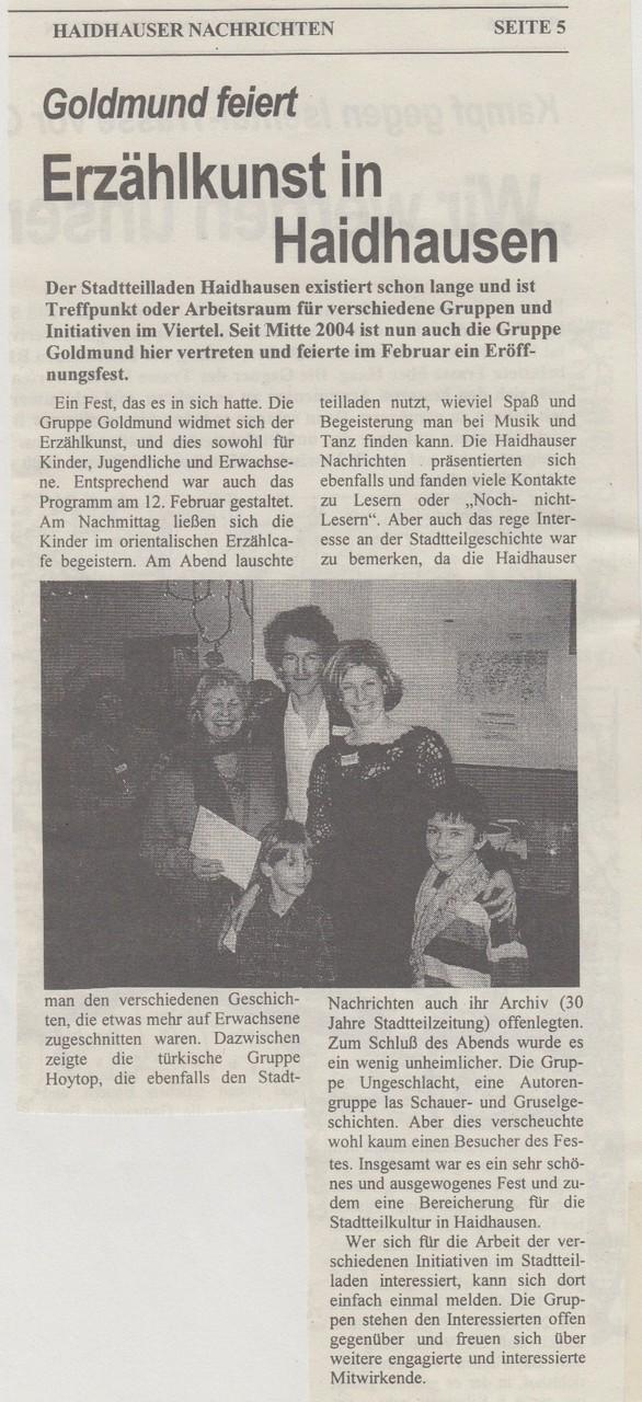 Haidhauser Nachrichten - 14.02.2005