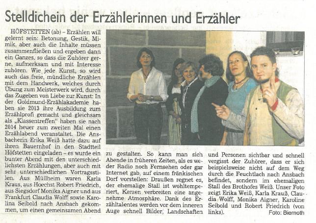 Fränkische Landeszeitung Ansbach 3. März 2016