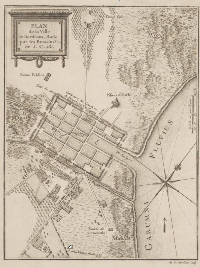 Бурдигала в 3 веке, после разрушения Варварами - маленький город с высокими стенами