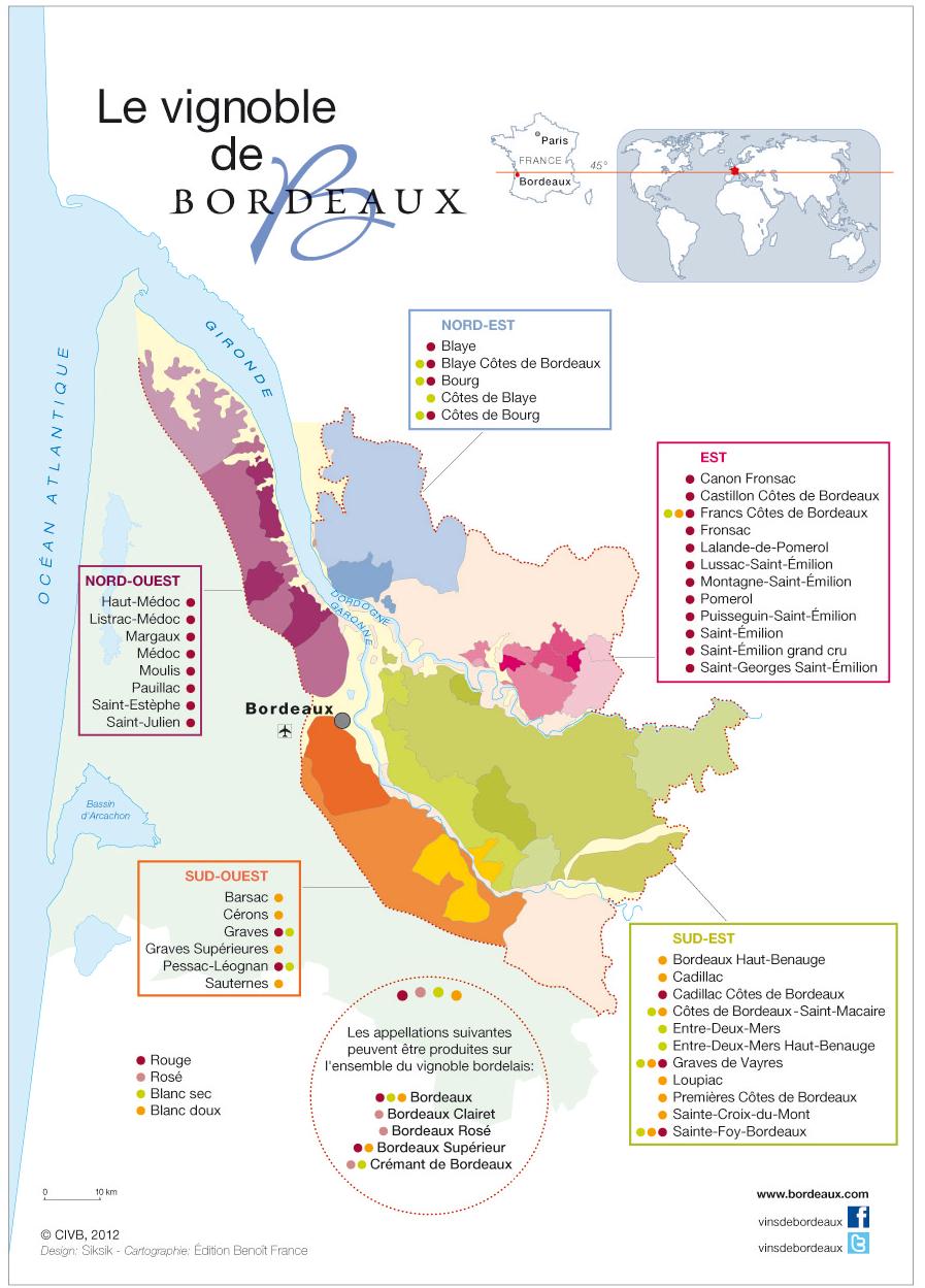 Карта виноградников Бордо