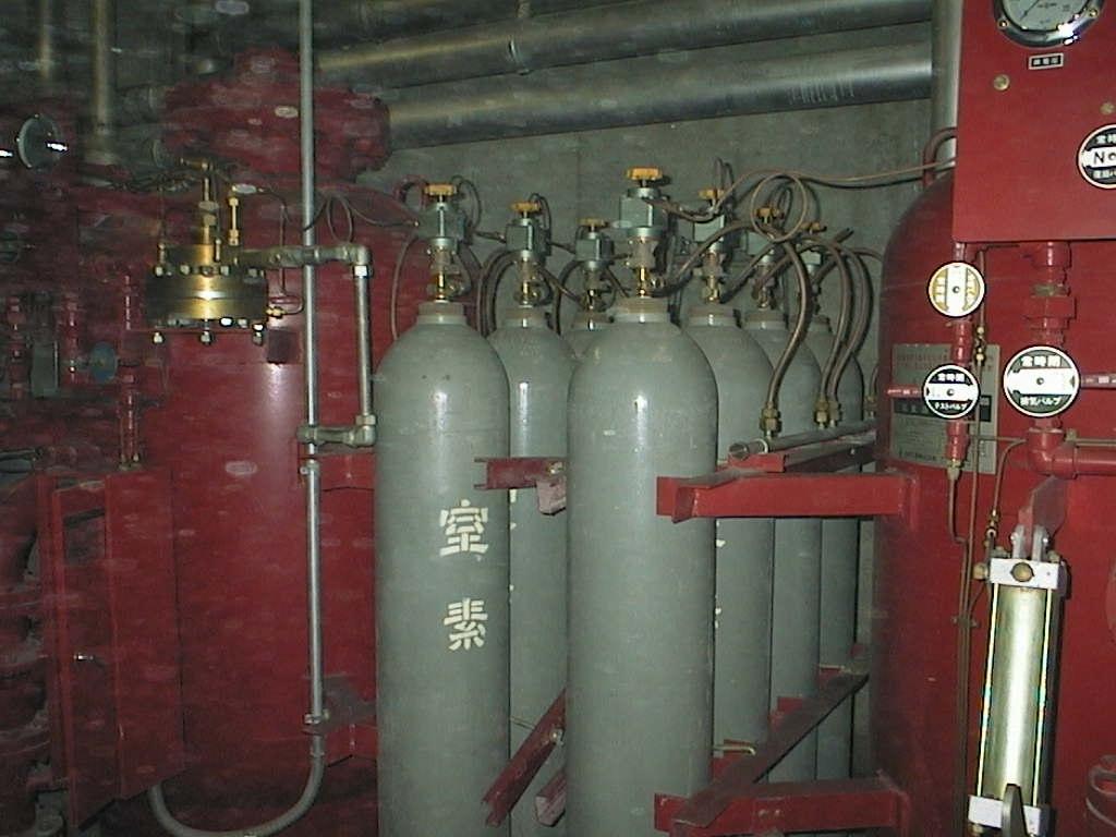 不活性ガス消火設備点検状況