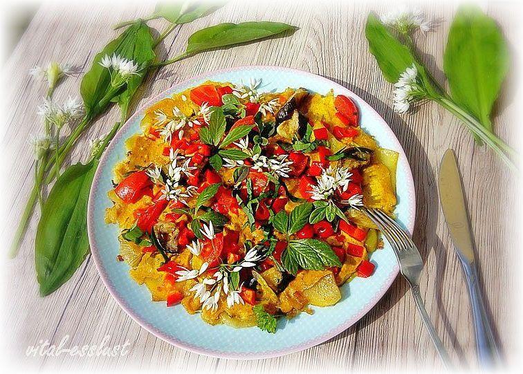 veganes Gemüseomelettm Bärlauch