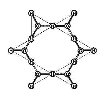 Strukturmodell einer hexagonalen Form eines Wassermoleküls
