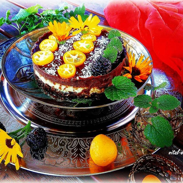 Schokoladen, Kumquats, Raw Tarte, Rohkost, Blüten, Teller, gelbe Blüten