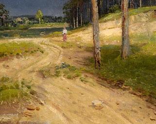 Stellen Sie sich eine Landstrasse vielleicht so vor wie auf diesem Ausschnitt eines Ölgemäldes von Semen Fedorov um 1900