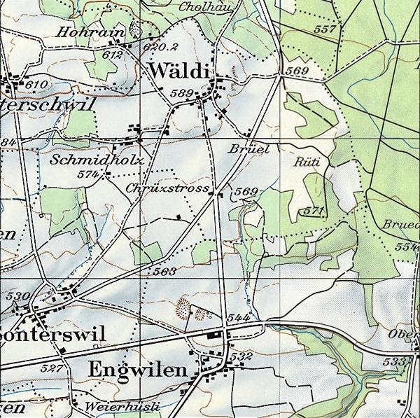 Wäldi 1975 - mit der neuen Kantonsstrasse bei Engwilen