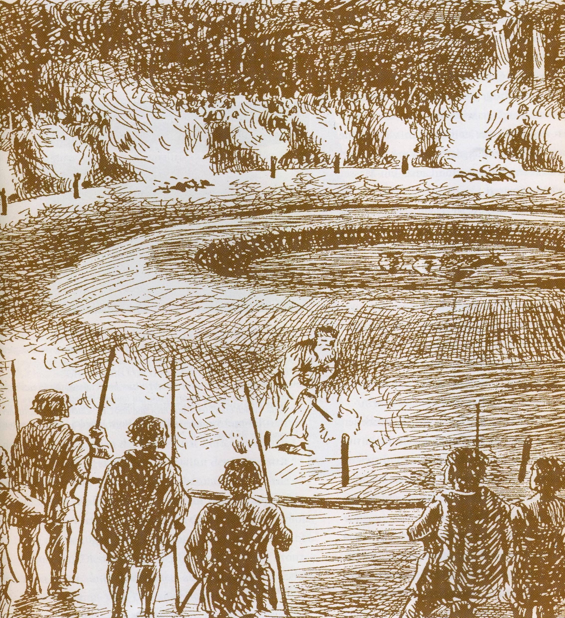 """So hat sich Keller-Tarnuzzer das Bestattungsritual in seinem Jugendbuch """"Die Inselleute vom Bodensee"""" vorgestellt."""