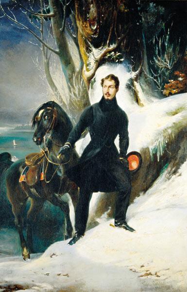 """Louis Napoleon auf Arenenberg. Auf diesen schwarzen Hengst soll der Übername der Salensteiner - """"die Araber"""" - zurückgehen."""