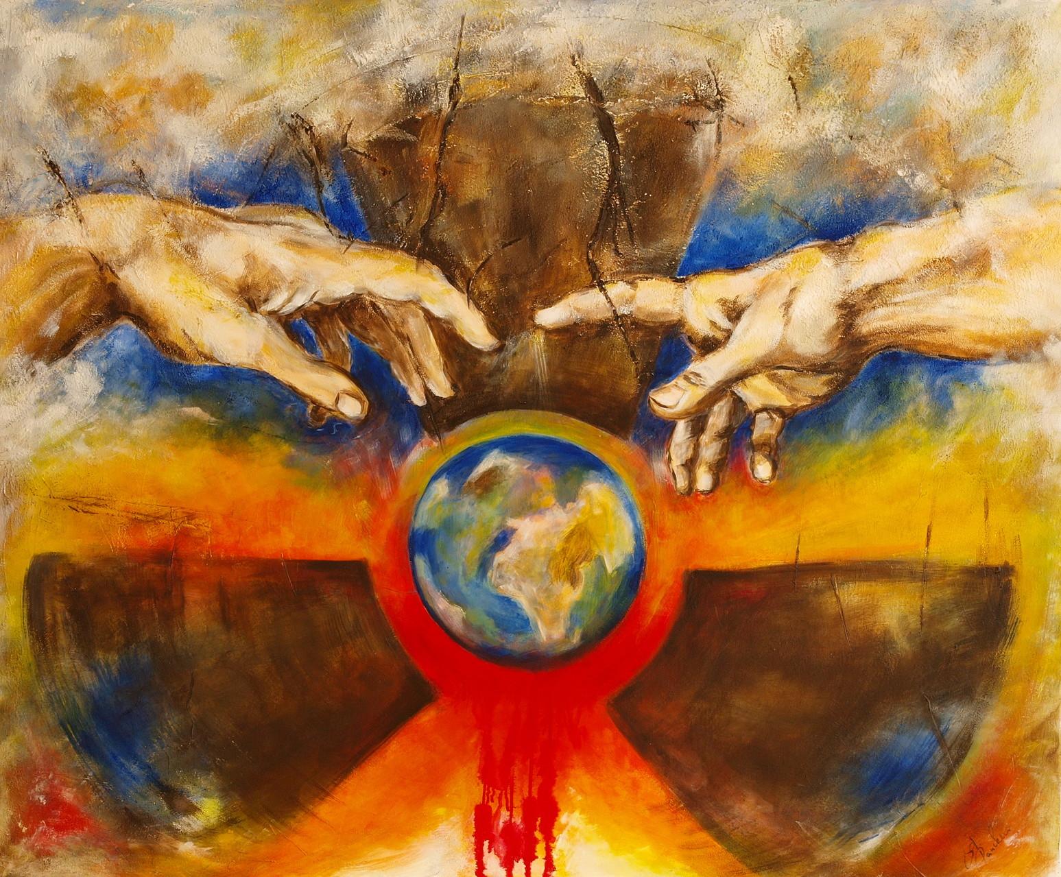 Nr. 5 Die Schöpfung  oder wieviel Mensch verkraftet die Erde     100 cm x 120 cm     Mischtechnik