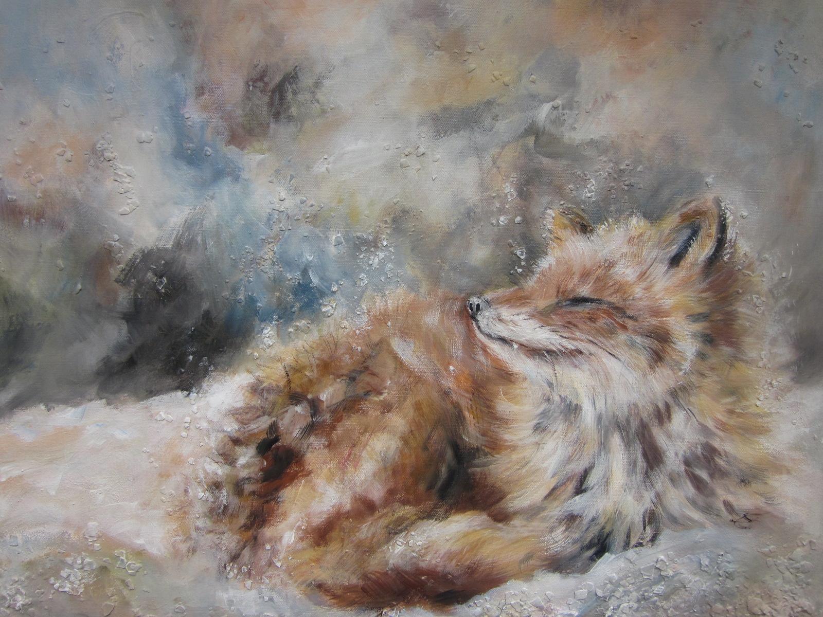 Nr. 59 Fuchs im Schnee    50 x 70 cm