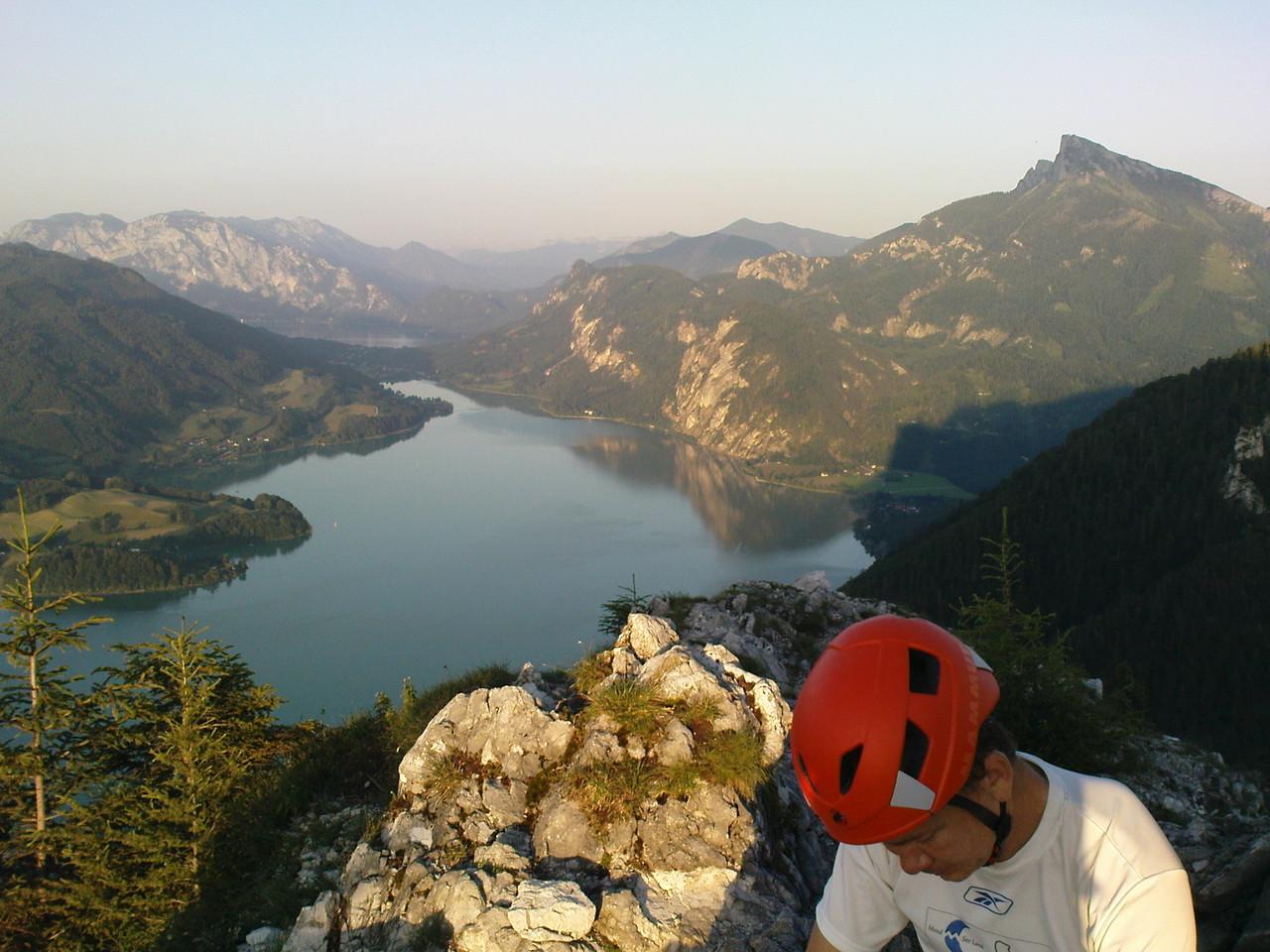 Drachenwand - über Klettersteig, Aussicht auf Mondsee u Attersee