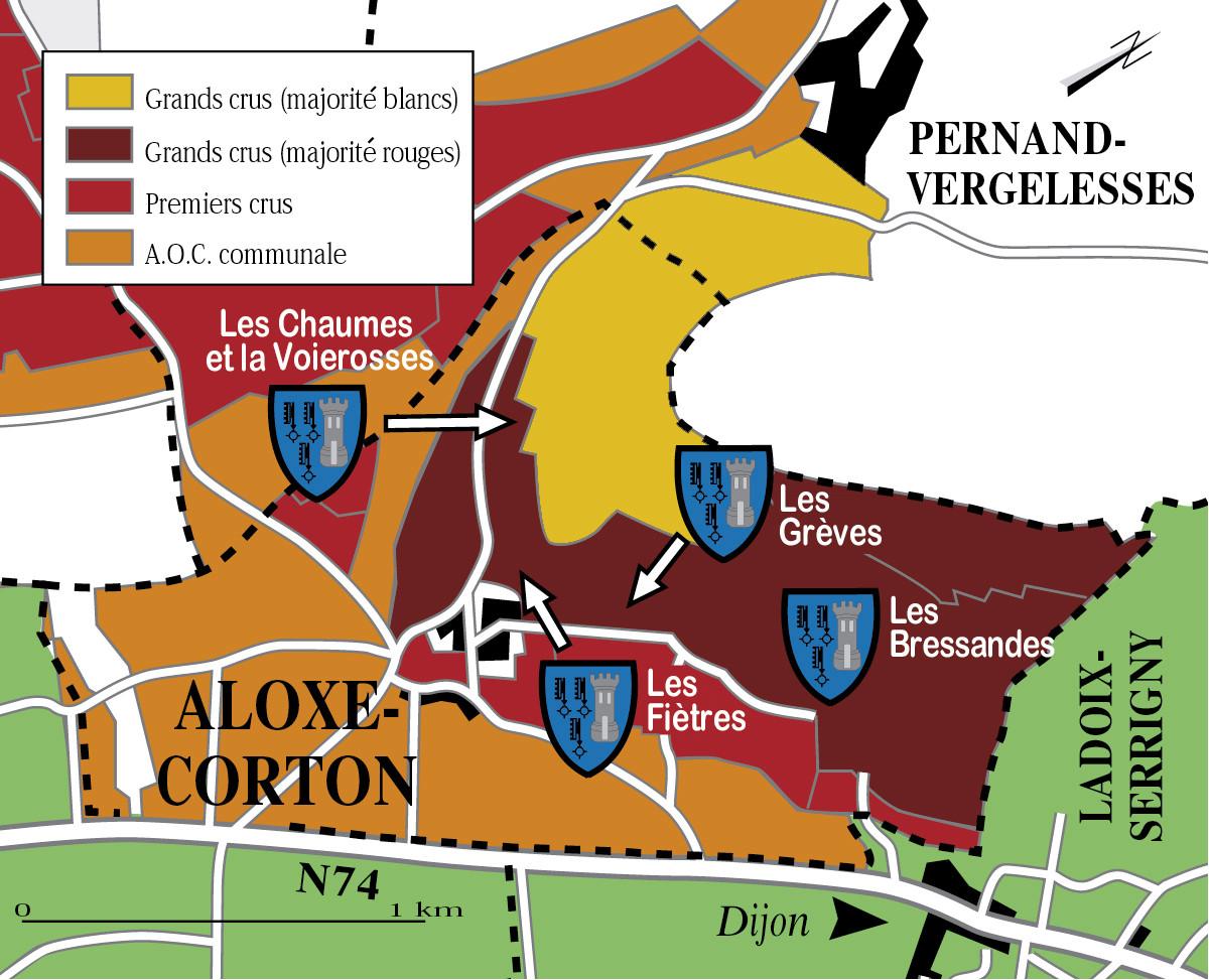 Parcelles d'une cuvée de Corton (carte extraite du livre)