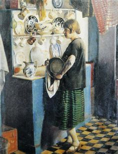 Harold Harvey: Gertrude in the kitchen at Maen