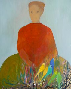 Maartje Strik: Woman with budgerigars (oil)