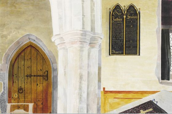 Kenneth Rowntree: Interior of the church of St Mary the virgin, Lindsell