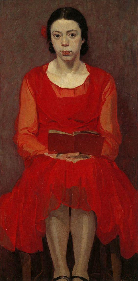 Ferdinand Andri: Meisje in rode jurk