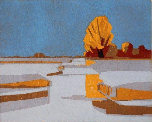 Frank Dekkers: Snow, woodcut
