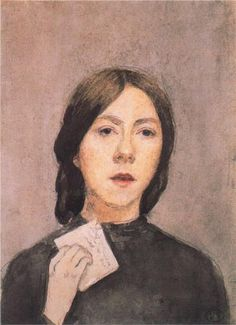 Gwen John; self portrait with letter