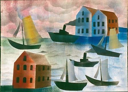 Hendrik Werkman: Haven met stoom- en zeilboten