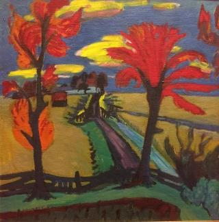Jan Wiegers: Landschap met rode bomen