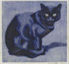 Norbertine Bresslern-Roth, linoleumsnede: kat