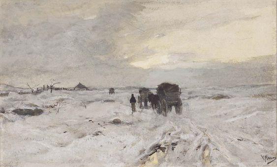 Anton Mauve: De weg in de sneeuw