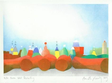 Annette Fienieg: West Terschelling harbour, template print 2009