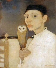 Jan Mankes: Zelfportret met uil
