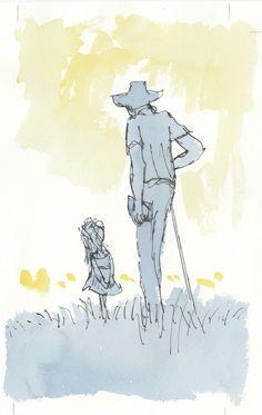 Quentin Blake: Roald Dahl met een klein meisje