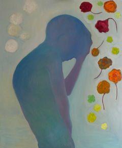 Maartje Strik: Jongeman met bloemen (olieverf)