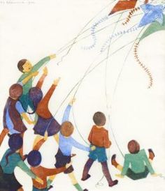 Ethel Spowers: flying kites, linocut
