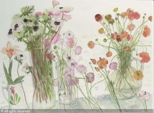 Elisabeth Blackadder: Anemonen en ranonkels