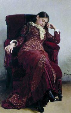 Ilja Repin: Rustpauze (de vrouw van de schilder)