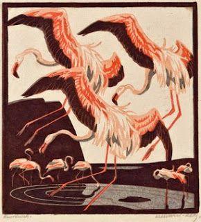 Norbertine Bresslern-Roth, linocut: Flamingos