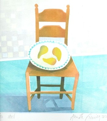 Peertjes op stoel, sjabloondruk 2011