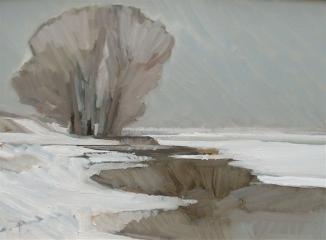 Frank Dekkers, Sneeuwlandschap; olieverf