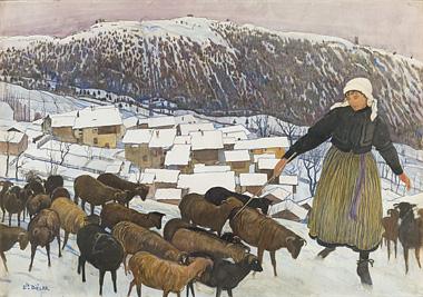 Ernest Biéler: Bergère et moutons dans un paysage hivernal saviésan