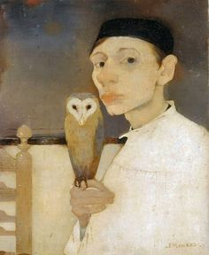 Jan Mankes: Self portrait with barn owl