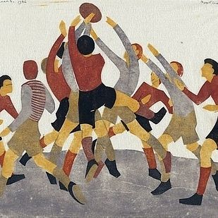 Ethel Spowers: football, linocut