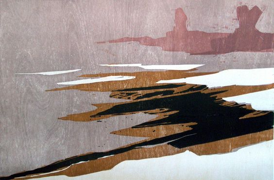 Frank Dekkers: River in winter, woodcut