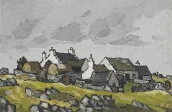 Kyffin Williams: Cottages in a Welsh landscape