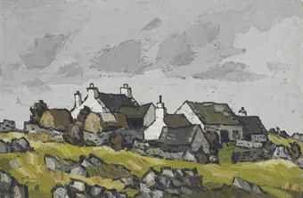 Kyffin Williams: Cottages in a Welsh landscape