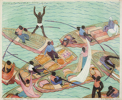 Ethel Spowers: merchants of Port Saïd, linocut