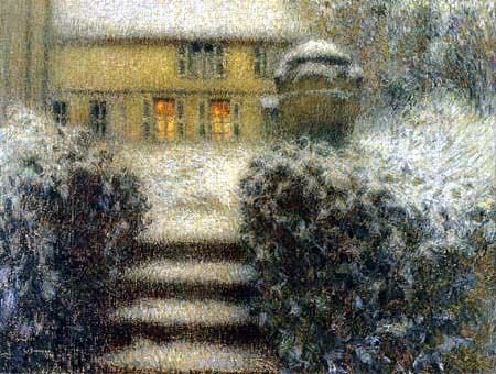Henri Le Sidaner: avond in Gerberoy, sneeuw