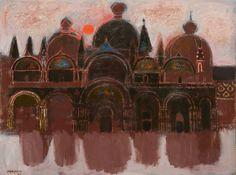Alberto Morrocco: Basilica in flood (Venice)