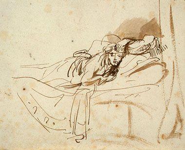 Rembrandt van Rijn: Saskia slapend