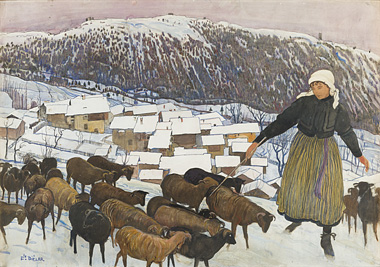 Ernest Biéler: Bergère et moutons dans un paysage hivernal Savièsan