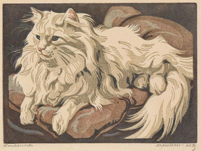 Norbertine Bresslern-Roth, linocut: Cat