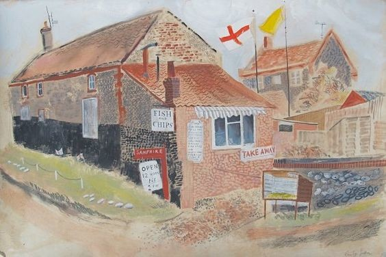 Emily Sutton: Fish & chips, Salthouse; watercolour