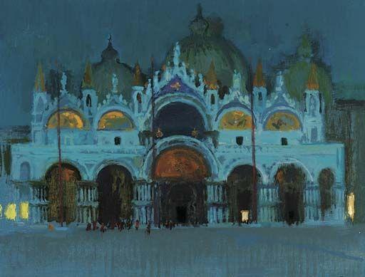 Alberto Morrocco: Basilica di San Marco, moonlight